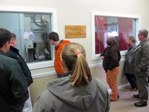 Class members watch the robots complete the milking process