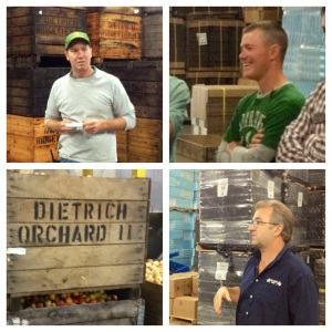 Clockwise from top: Mike Dietrich, Adam Dietrich, Eric Hessler, and apple bin
