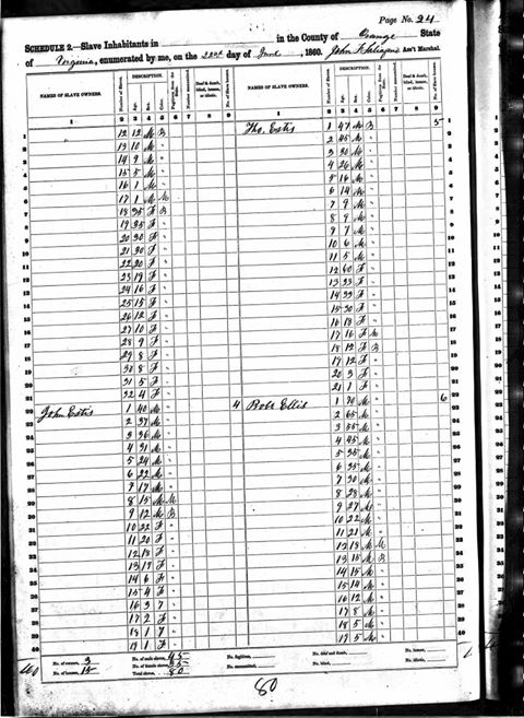 Orange County slave register for Ellis slave owner