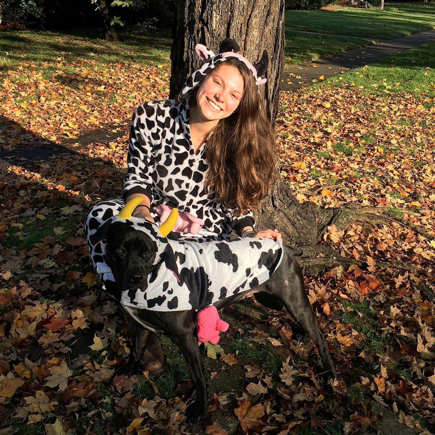 Luna loves our cow outfits.